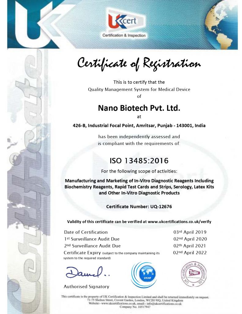 certificate ISO13485